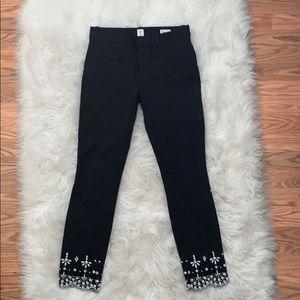 Gap Black Skinny Embroidered Skinny Pants, Size 2